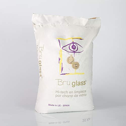 BruGlass BlasterGlass Hi-Tech arena de vidrio abrasiva para limpieza por chorro a presión - Saco de 10 Kg