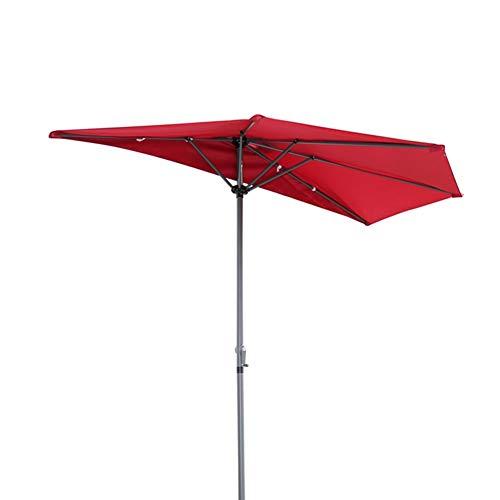 ZXL Sonnenschirme 9ft Halbrunder Sonnenschirm, Outdoor-Markt Tabelle Regenschirm für Garten Balkon Tür Fenster Sonnenschirm, Einfach zu Montieren, Rot