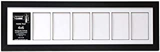 Creative Letter Art [8x30bk-w] 7 Opening Glass Face Black Picture Frame Holds 4x6 Media with White Collage Mat
