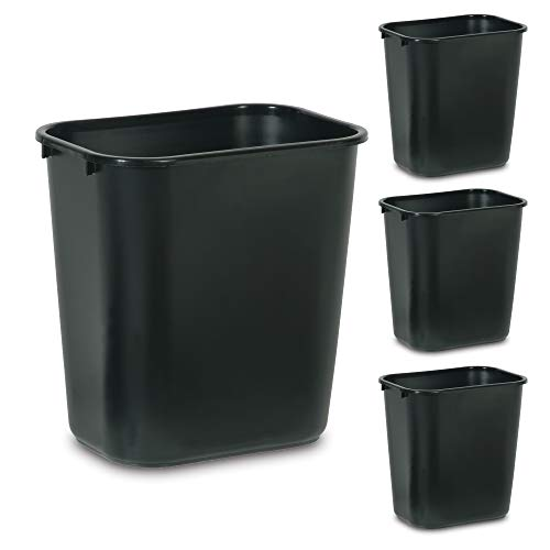 Rubbermaid Commercial Products Plastic Resin Wastebasket Trash Can for Bedroom Bathroom Office 7 Gallon/28 Quart Black Pack of 4