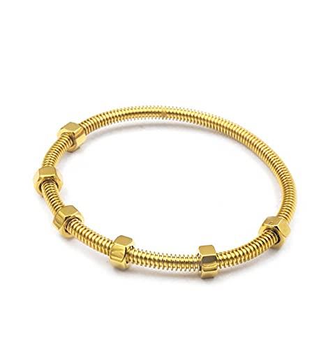 WJCRYPD Pulseras para Mujer Tornillo Bangles Titanio Acero Oval Pareja Mujeres Brazaletes No Piedra Rosa Pulseras Oro Oro 19cm Qf Shop (Color : Gold)