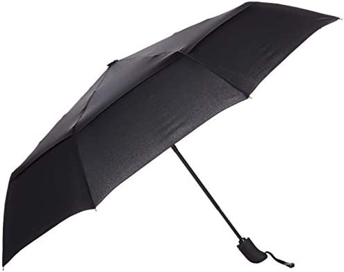 Amazon Basics Automatic Travel Small Compact Umbrella With Wind Vent - Black