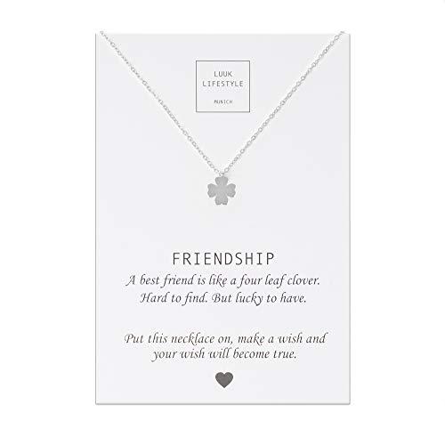 LUUK LIFESTYLE Gioielli donna, gift card, collana con ciondolo a forma di quadrifoglio e biglietto regalo con frase Friendship, portafortuna, Gioielli donna, gift card, argento