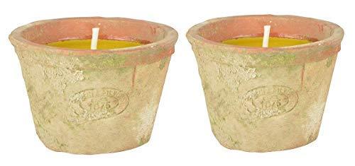 Linoows G2009:2 Citronella Kaarsen in Terracotta Pot 2 Geur Party Light, Mückenschreck