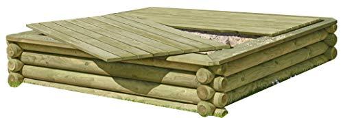 Gartenpirat Sandkasten 180x180 cm aus Rundholz Ø 10 cm mit Deckel aus Holz