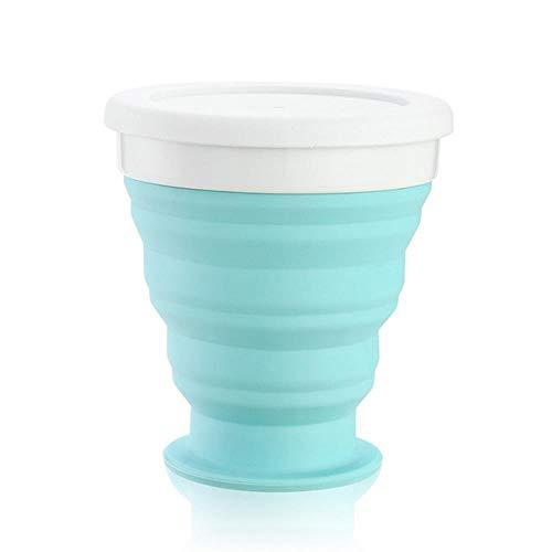 NO BRAND Nuevas Tazas Plegables de Silicona retráctiles Tazas de café Plegables telescópicas Taza de Agua de Silicona al Aire Libre, Azul