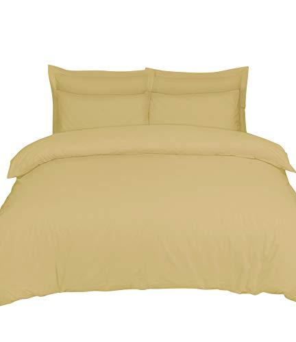 Linen Zone Juego de funda de edredón de algodón egipcio de 200 hilos, tamaño king, color beige