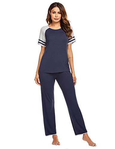 Ekouaer Womens Pajama Set Casual Sleepwear Short Sleeve Top with Pants Lounge Sets Navy Large