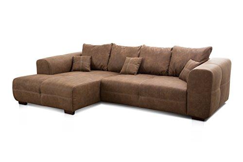 Cavadore Ecksofa Mavericco / XXL Eckcouch Inkl. Rückenkissen und Zierkissen / Longchair links / Industrial Style / 285 x 69 x 170 (BxHxT) / Mikrofaser Braun