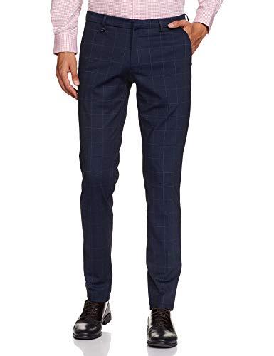 Van Heusen Men's Slim Fit Formal Trousers (VHTFFULFM82660_Navy_36W x 34L)