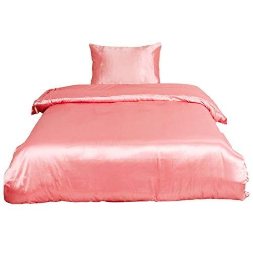 YeVhear - Juego de ropa de cama de satén suave y sedoso, 2 piezas