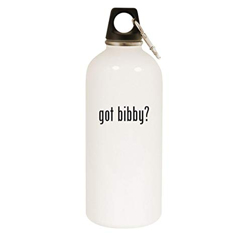 got bibby? - 20oz Stainless Steel White Water Bottle with Carabiner, White