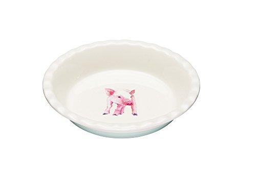 KitchenCraft Apple Farm Handgefertigte Runde Portia Pig Backform, Keramik, Mehrfarbig, 26 x 26 x 5 cm, 1 Einheiten