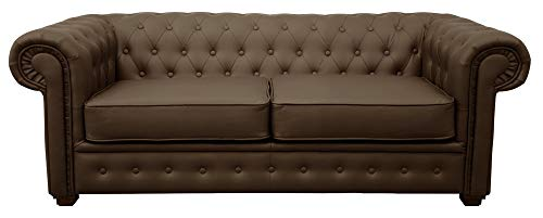 Chesterfield Style Venus Sofa 3 Seater 2 Seater Armchair Brown Faux Leather (2 Seater)