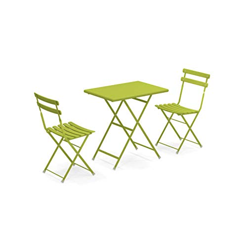 Set Arc EN Ciel Colore Verde Composto da Tavolo 50x70 CM Art. 334 + 2 SEDIE Pieghevoli Art. 314 - Made Italy