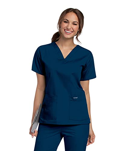 Landau Women's Standard Durable and Comfortable 4-Pocket V-Neck Scrub Top Shirt, Navy, Large
