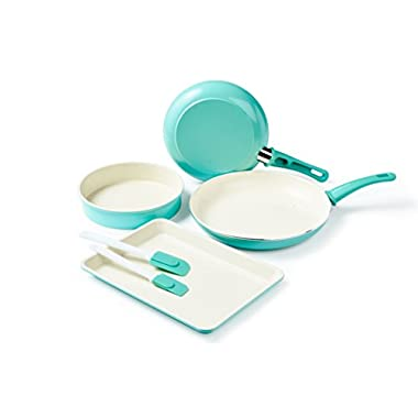 GreenLife CC001578-001 Cookware and Bakeware Set, 6-piece, Turquoise