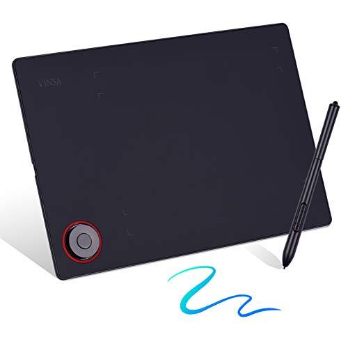 Bisofice Tablero de escritura de tableta de dibujo de gráficos profesionales con perilla de controlador 8192 niveles Lápiz óptico sin batería/8pcs de puntas/Clip de lápiz/Adaptador OTG/Bolsa de lápiz