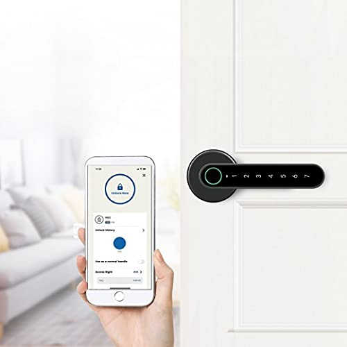 MyRoom S – Manilla electrónica con código y escáner de huellas dactilares | Manilla de puerta controlable vía Bluetooth y aplicación | Código Pin-electrónico | Manilla de puerta