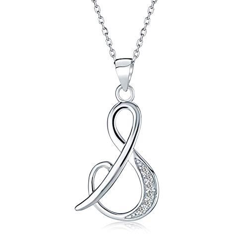 Abc Zirkonia Pflaster Cz Cursive Skript Buchstabe Alphabet Initiale S Anhänger Halskette Für Frauen Sterling Silber