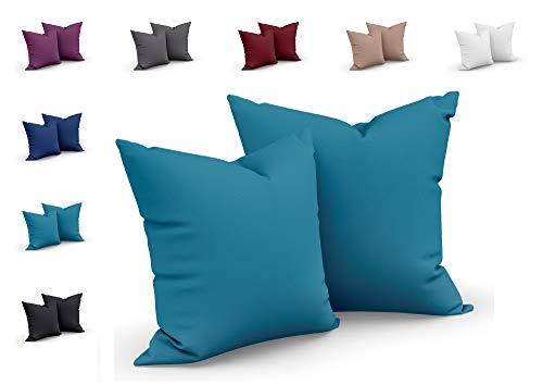one-home 2er Set Mikrofaser Kissenbezug Kissenhülle Kopfkissen Hülle Uni, Farbe:Petrol, Maße:40 x 40 cm