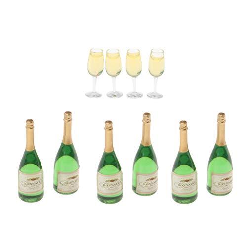 perfeclan 6X Botellas de Vino + 4X Copas de Vino, para Decoración Casas de Muñecas en Miniatura