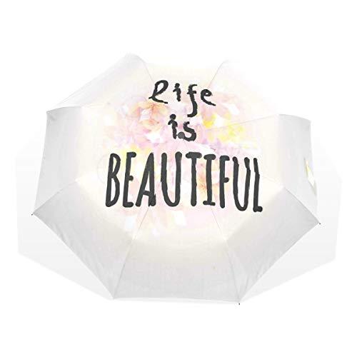 LASINSU Regenschirm,Zitat Leben ist schöner Blumendruck,Faltbar Kompakt Sonnenschirm UV Schutz Winddicht Regenschirm