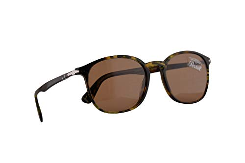 Persol 3215-S Sonnenbrille Tortoise Grün Braunen Mit Braunen Gläsern 57mm 107953, PO 3215S, PO3215-S