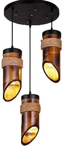 Rekaf Colgante Luz Restaurante Aisle Café E27 Luces de Techo Cuerda de cáñamo Creativo Tejido de bambú 3 Head Chandeliers Rústico Vintage Bambú Colgante Colgante Luces Lámparas de Techo