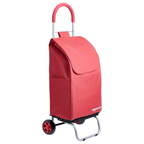 Amazon Basics Folding Shopping Cart Converts into Dolly, 36 inch Handle Height, Red