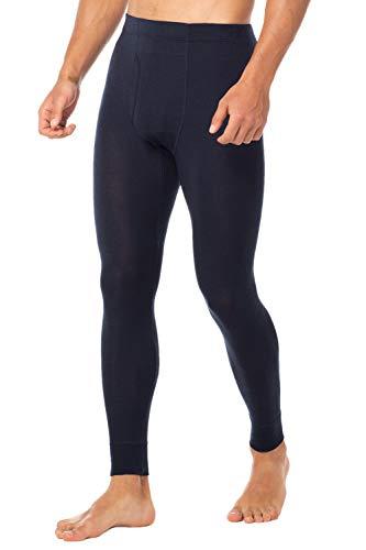 "LAPASA Men's 100% Merino Wool Thermal Underwear Pants Long John Leggings Base Layer Bottom M30 (S Waist 28""-30"" Length 37.4"", Navy.)"