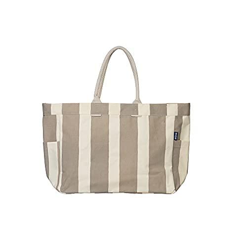 AQVA Bolsa de lona para mujer, bolsa de hombro con bolsillo interior con cremallera, bolso impreso para compras, viajes, trabajo, playa