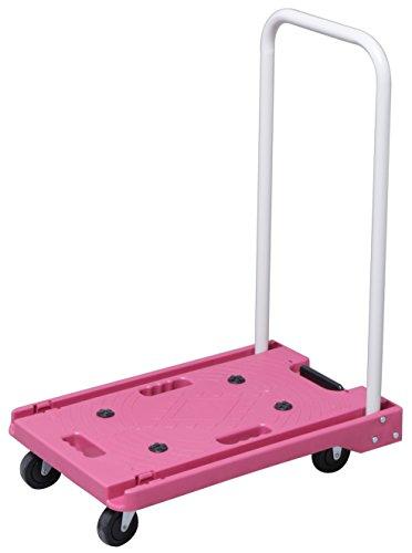 アイリスプラザ 台車 折りたたみ 軽量 静音 耐荷重 キャスター 100kg ピンク
