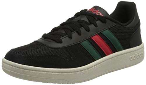 adidas Hoops 2.0, Zapatillas de bsquetbol Hombre, Core Black Scarlet Collegiate Green, 42 2/3 EU