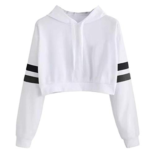Hoodies Crop Top for Teen Girls, Iuhan Women's Girl's Casual Solid Long Sleeve Hooded Sweatshirt Pullover Tops Blouse (M, White)
