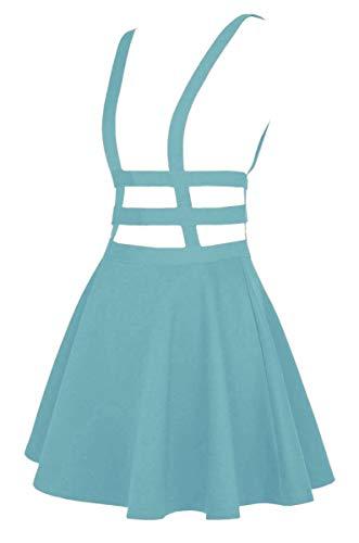 EXCHIC Falda de Cintura Elástica con Pliegues de la Moda A-Line Suspender Brace Falda (L, Azul Claro)