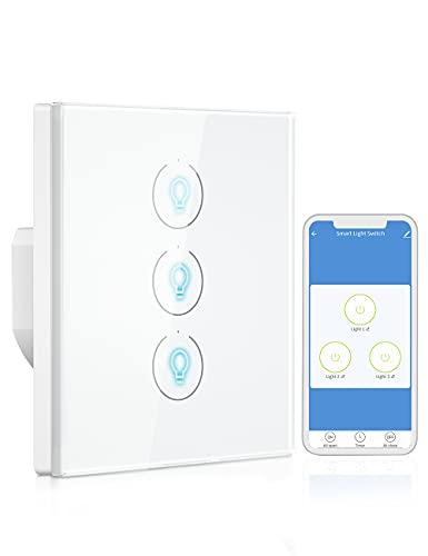 Interruptor de Luz Inteligente, Besvic 3 Gang Interruptor de Luz Wifi Control Remoto APP Compatible con Alexa, Google Home y Función de Temporizador (2,4GHz, Neutral Requerido)
