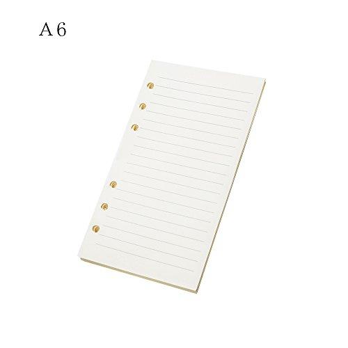 VEVICE 6 agujeros recambios de papel carpeta planificador recambios papel, 45 hojas/90 páginas para hojas sueltas carpeta cuaderno diario viajero diario insertos 9.4 * 17.1cm white-6