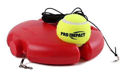 Pro Impact Tennis Trainer Rebounder Ball, Trainer Baseboard with Long Rope, Perfect Solo Tennis Trainers Round and Round Red