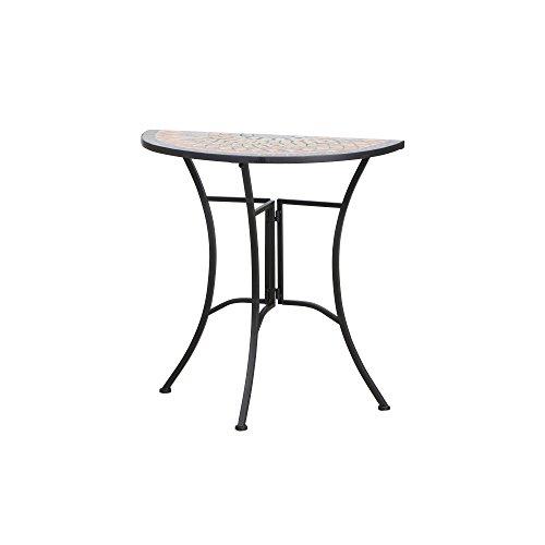 Siena Garden Tisch Prato, 35,5x70x71,5cm, Gestell: Stahl, pulverbeschichtet in schwarz matt, Fläche: Mosaik,Tischplatte: Keramik