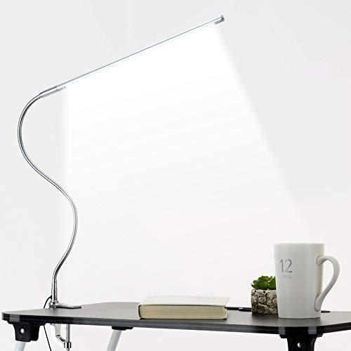 Tafellampen ZWRY Lange arm Tafellamp 48 LED's Op clip gemonteerd Kantoor LED Bureaulamp USB Flexibele zwanenhals Oogbescherming Leeslampen voor werk Studie 85,5 cm Zilver