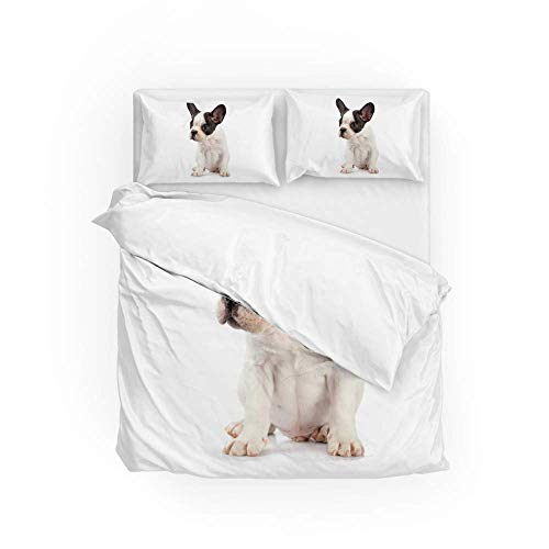 Soft Quilt Bedding Set French Bulldog Puppy Duvet Cover with Pillowcases Set 2 PCS 155 x 220 CM, Full Size