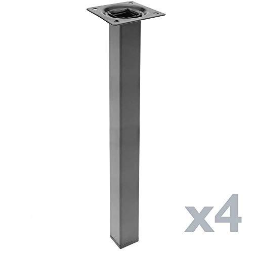 PrimeMatik - Pies Cuadrados para Mesa y Mueble. Patas en Acero Negras de 40cm 4-Pack