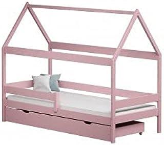 Children's Beds Home - Lit simple en forme de maison - Teddy - Lit simple - Teddy - 190 x 90 cm, rose, grand lit simple, m...