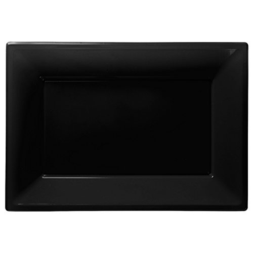Amscan - 3 piatti da portata, in plastica, nero
