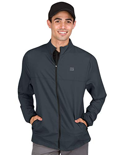 Mens Windbreaker Jackets - Zippered Golf Wind Breaker Jacket - Vented, Dry Fit
