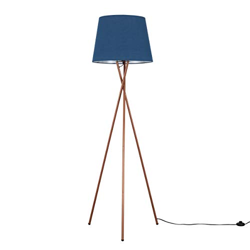 Modern Copper Metal Tripod Floor Lamp with a Navy Blue Tapered Shade