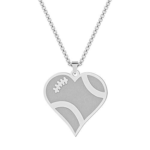 QIAMNI Collar con colgante de corazón de fútbol de acero inoxidable y oro plateado para mujeres y hombres, cadena de clavícula, regalo de personalidad,