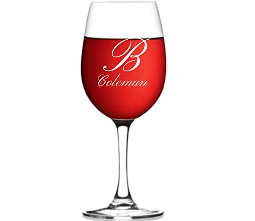 Custom Engraved 21oz. Red Wine Glass Personalized with ANY Cursive Initial & Cursive Name. Free Custom Design Options. ThoughtsEngraved #013