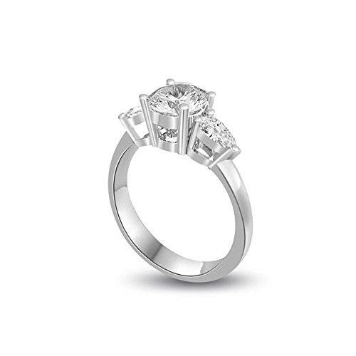 0.45ct G/VS1 Diamante Trilogy Anello da Donna con Rotonda Brillante & Pera diamanti in 18kt Oro bianco